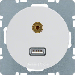3315392089 - Berker BMO USB/3.5mm AUDIO,  R.1/R.3, цвет: полярная белезна