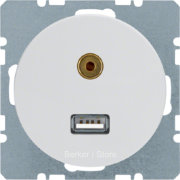 3315392089 BERKER - BMO USB/3.5mm AUDIO,  R.1/R.3, цвет: полярная белезна