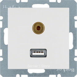 3315398989 BERKER - BMO USB/3.5mm AUDIO, S.1, цвет: полярная белезна